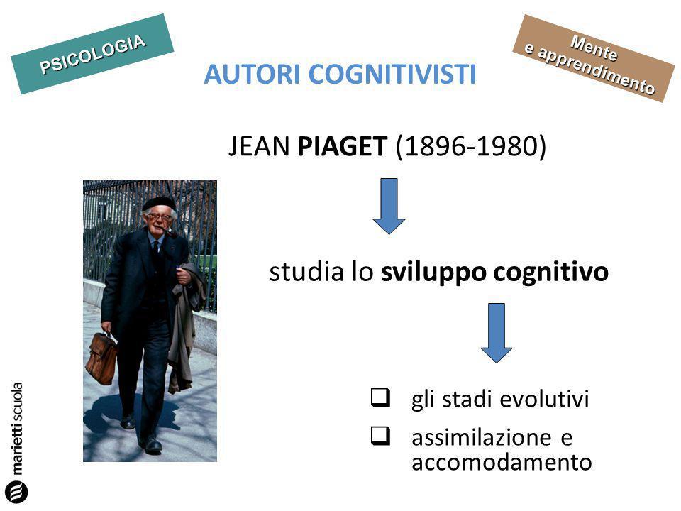PSICOLOGIA Mente e apprendimento AUTORI COGNITIVISTI JEAN PIAGET (1896-1980) studia lo sviluppo cognitivo gli stadi evolutivi assimilazione e accomodamento