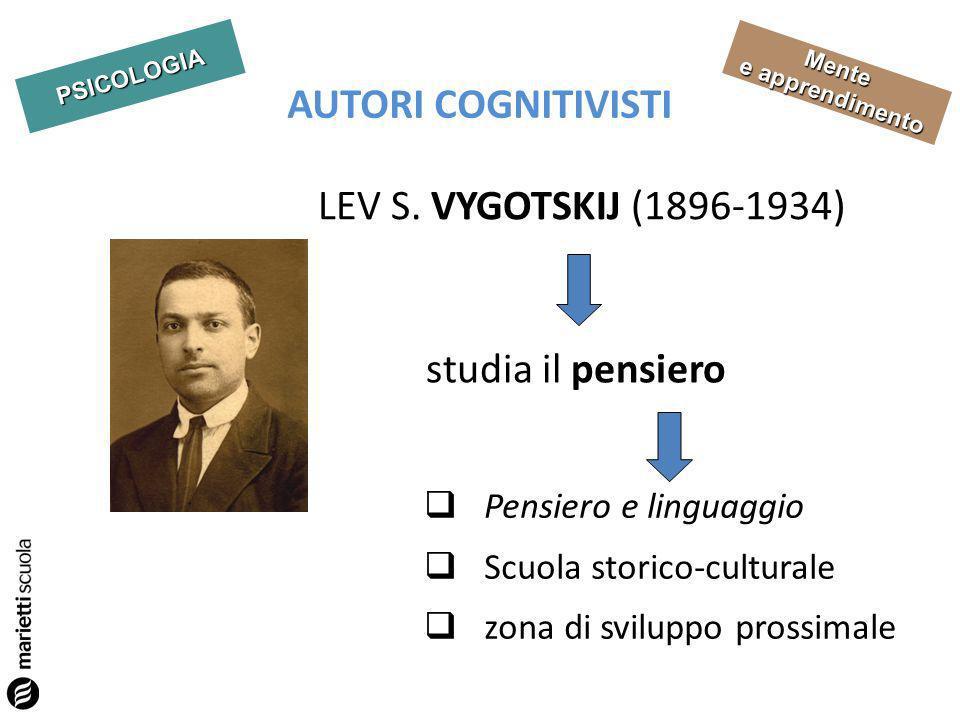 PSICOLOGIA Mente e apprendimento AUTORI COGNITIVISTI LEV S. VYGOTSKIJ (1896-1934) studia il pensiero Pensiero e linguaggio Scuola storico-culturale zo