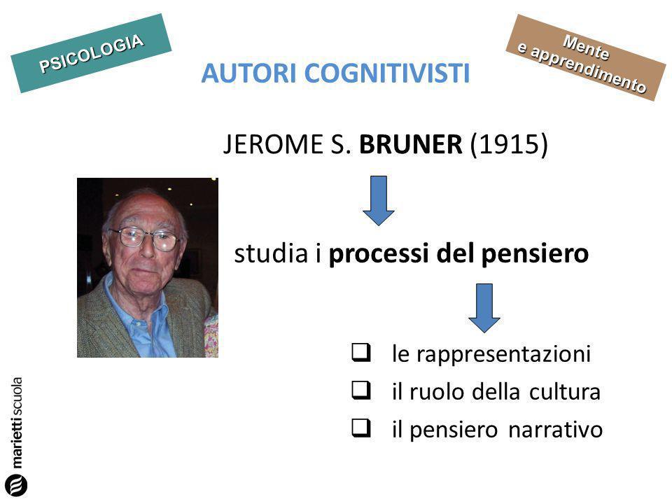 PSICOLOGIA Mente e apprendimento AUTORI COGNITIVISTI studia i processi del pensiero le rappresentazioni il ruolo della cultura il pensiero narrativo J