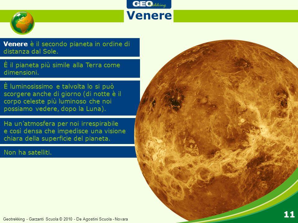 Venere è il secondo pianeta in ordine di distanza dal Sole. Venere È il pianeta più simile alla Terra come dimensioni. È luminosissimo e talvolta lo s