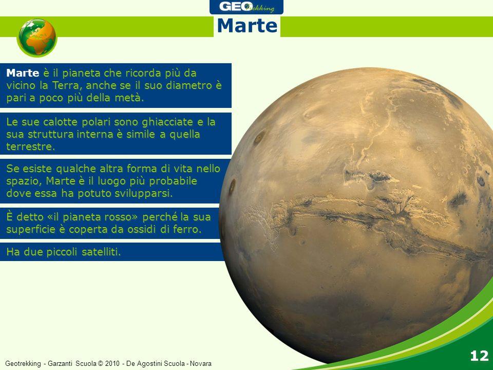 Marte è il pianeta che ricorda più da vicino la Terra, anche se il suo diametro è pari a poco più della metà. Le sue calotte polari sono ghiacciate e