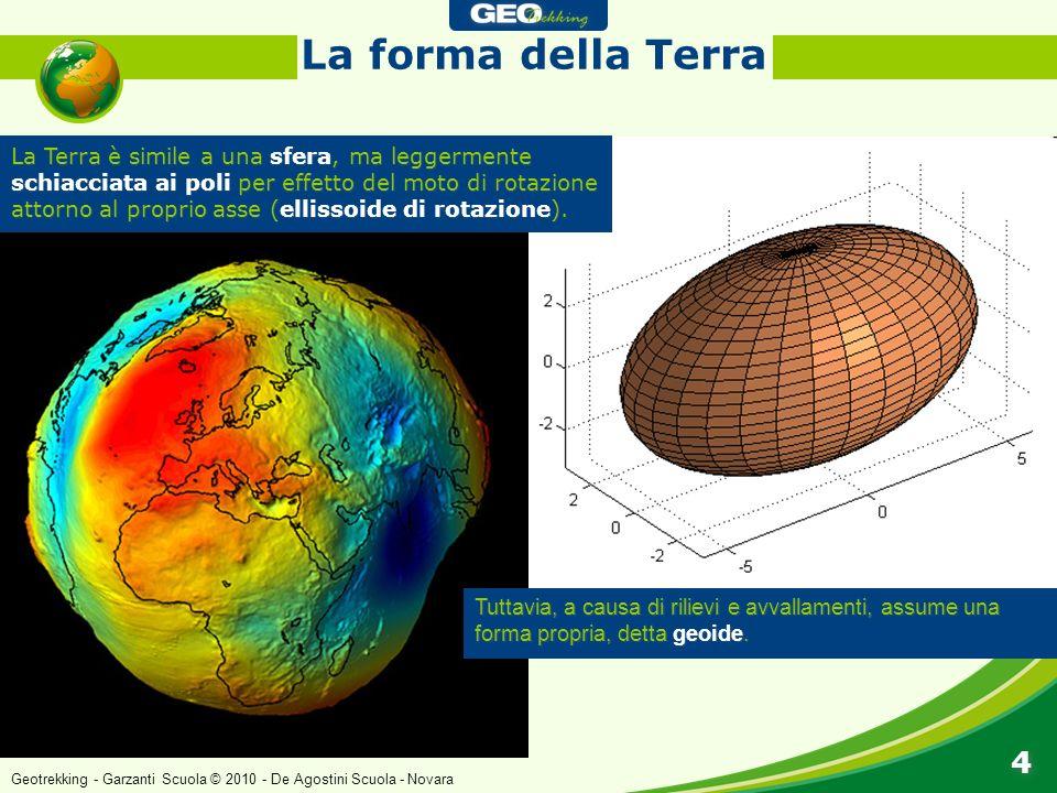 La Terra è simile a una sfera, ma leggermente schiacciata ai poli per effetto del moto di rotazione attorno al proprio asse (ellissoide di rotazione).