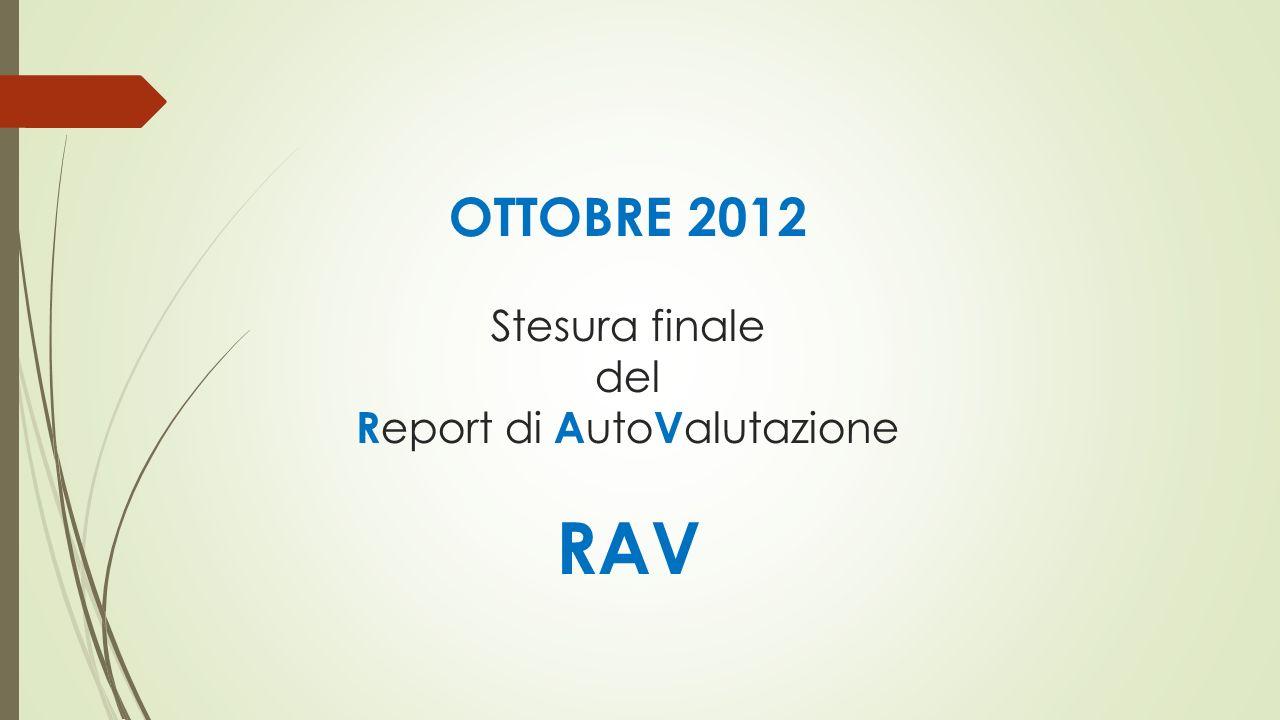 OTTOBRE 2012 Stesura finale del R eport di A uto V alutazione RAV