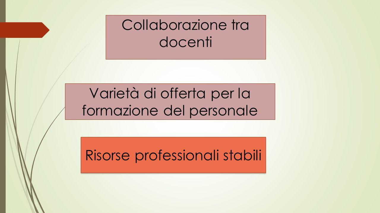 Collaborazione tra docenti Varietà di offerta per la formazione del personale Risorse professionali stabili