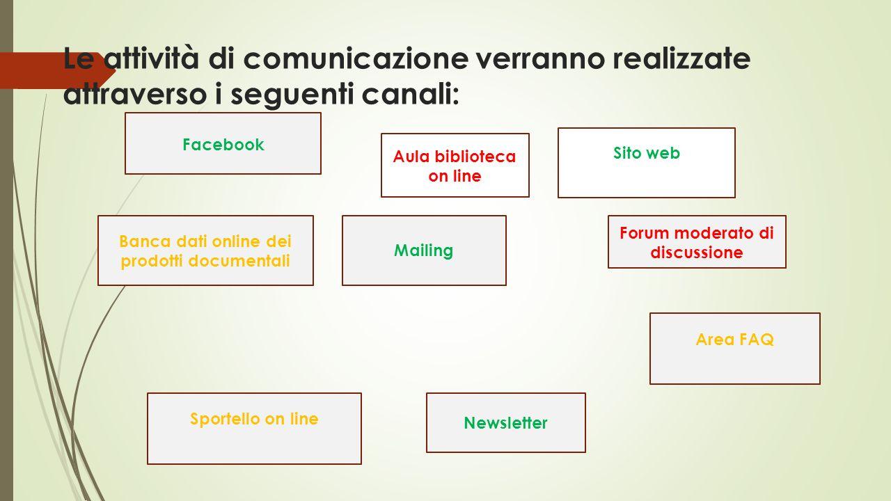Le attività di comunicazione verranno realizzate attraverso i seguenti canali: Sito web Forum moderato di discussione Area FAQ Newsletter Mailing Spor