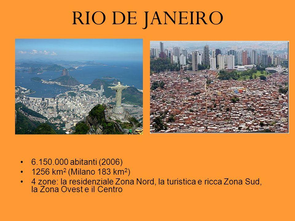 RIO DE JANEIRO 6.150.000 abitanti (2006) 1256 km 2 (Milano 183 km 2 ) 4 zone: la residenziale Zona Nord, la turistica e ricca Zona Sud, la Zona Ovest e il Centro