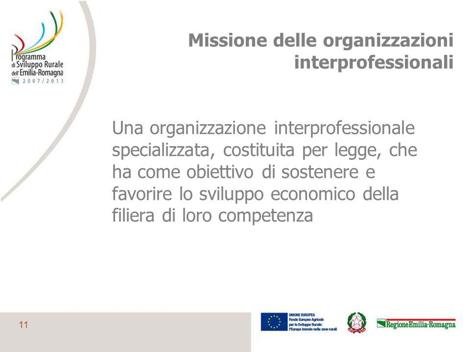 11 Missione delle organizzazioni interprofessionali Una organizzazione interprofessionale specializzata, costituita per legge, che ha come obiettivo d