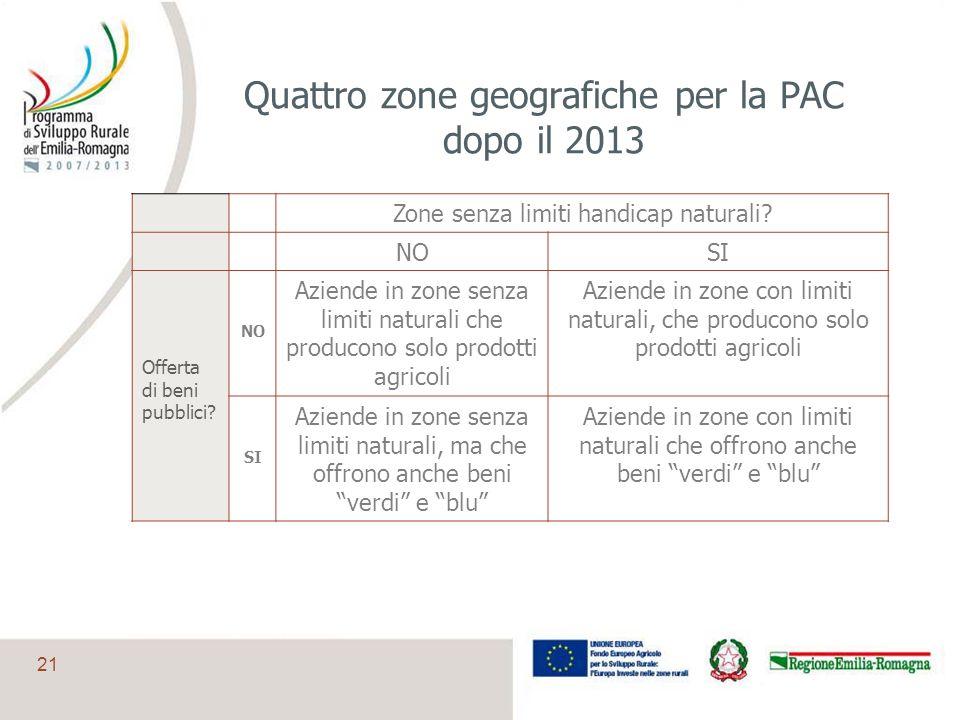 21 Quattro zone geografiche per la PAC dopo il 2013 Zone senza limiti handicap naturali? NOSI Offerta di beni pubblici? NO Aziende in zone senza limit