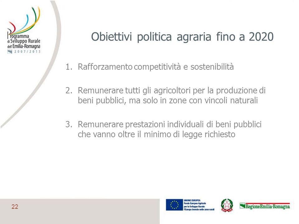 22 Obiettivi politica agraria fino a 2020 1.Rafforzamento competitività e sostenibilità 2.Remunerare tutti gli agricoltori per la produzione di beni p