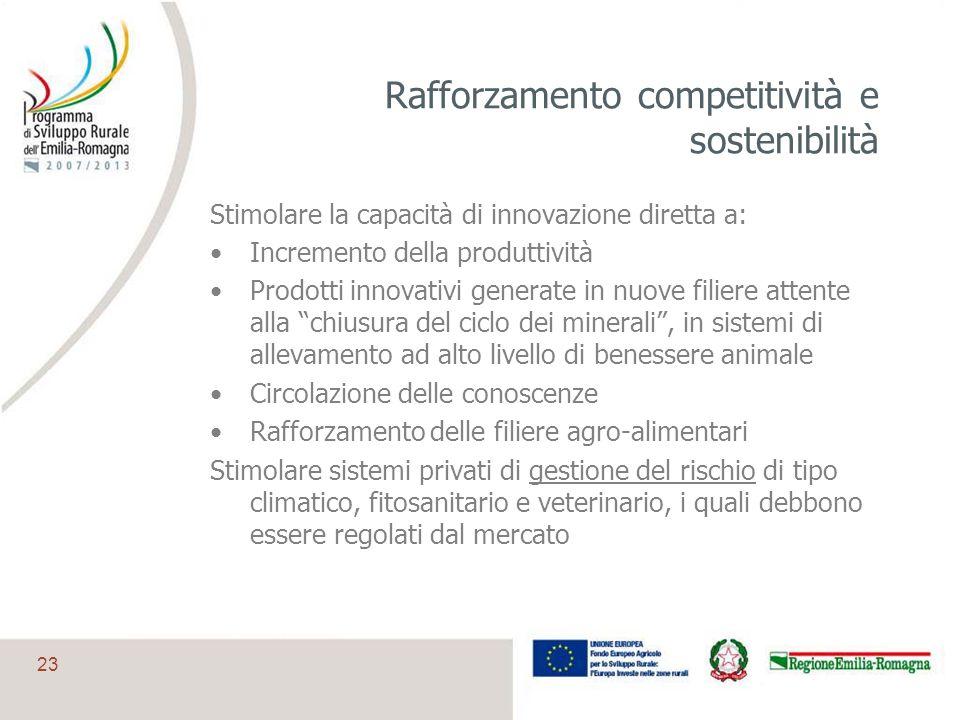 23 Rafforzamento competitività e sostenibilità Stimolare la capacità di innovazione diretta a: Incremento della produttività Prodotti innovativi gener