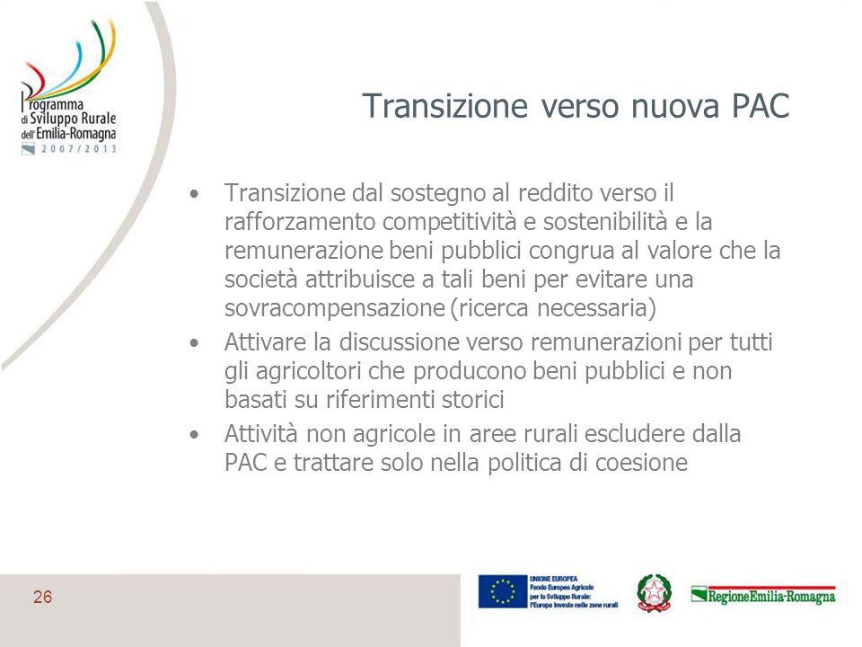 26 Transizione verso nuova PAC Transizione dal sostegno al reddito verso il rafforzamento competitività e sostenibilità e la remunerazione beni pubbli