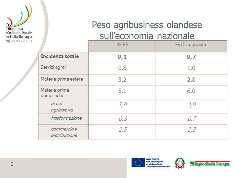5 Peso agribusiness olandese sulleconomia nazionale % PIL% Occupazione Incidenza totale 9,19,7 Servizi agrari 0,81,0 Materie prime estere 3,22,8 Mater