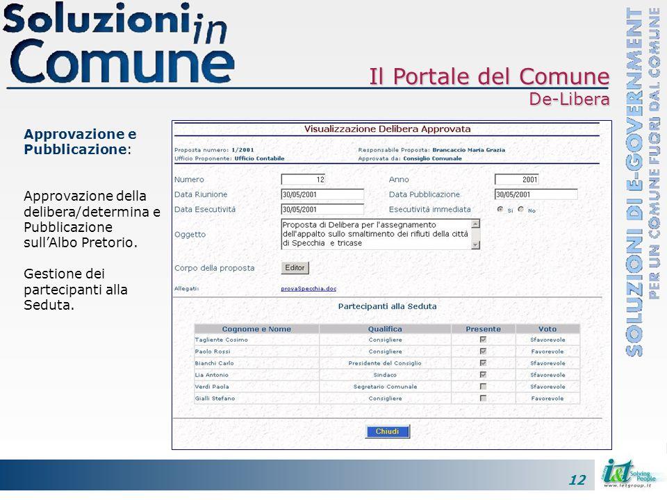 12 Approvazione e Pubblicazione: Approvazione della delibera/determina e Pubblicazione sullAlbo Pretorio.