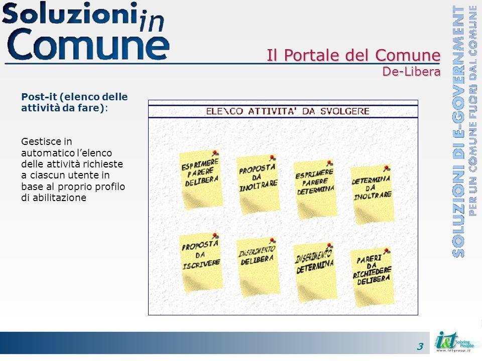 3 Il Portale del Comune De-Libera Post-it (elenco delle attività da fare): Gestisce in automatico lelenco delle attività richieste a ciascun utente in base al proprio profilo di abilitazione