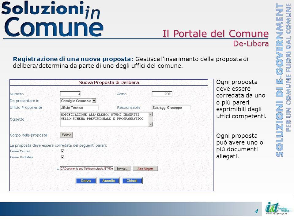 4 Registrazione di una nuova proposta: Gestisce linserimento della proposta di delibera/determina da parte di uno degli uffici del comune. Ogni propos