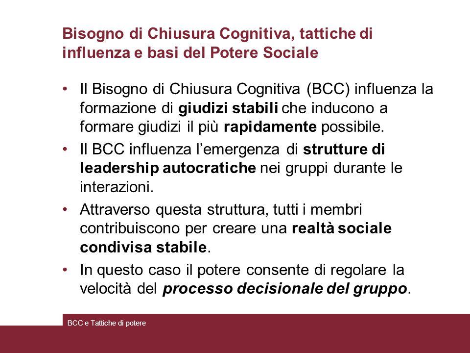 Bisogno di Chiusura Cognitiva, tattiche di influenza e basi del Potere Sociale Il Bisogno di Chiusura Cognitiva (BCC) influenza la formazione di giudizi stabili che inducono a formare giudizi il più rapidamente possibile.