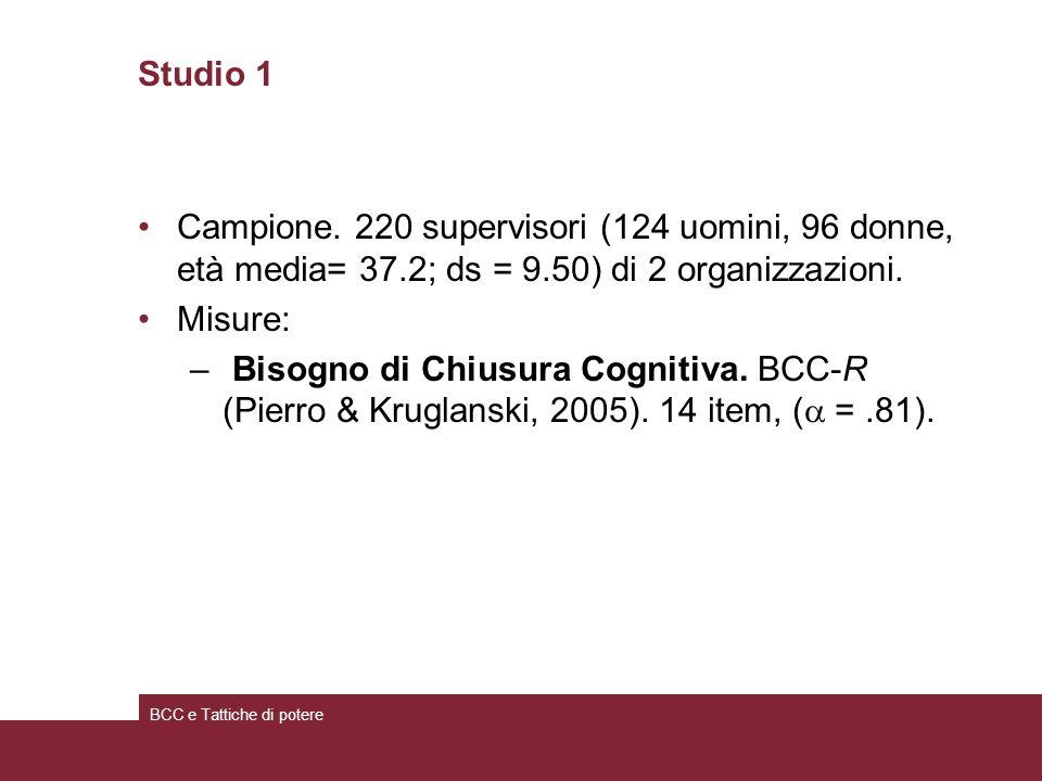 Studio 1 Campione. 220 supervisori (124 uomini, 96 donne, età media= 37.2; ds = 9.50) di 2 organizzazioni. Misure: – Bisogno di Chiusura Cognitiva. BC