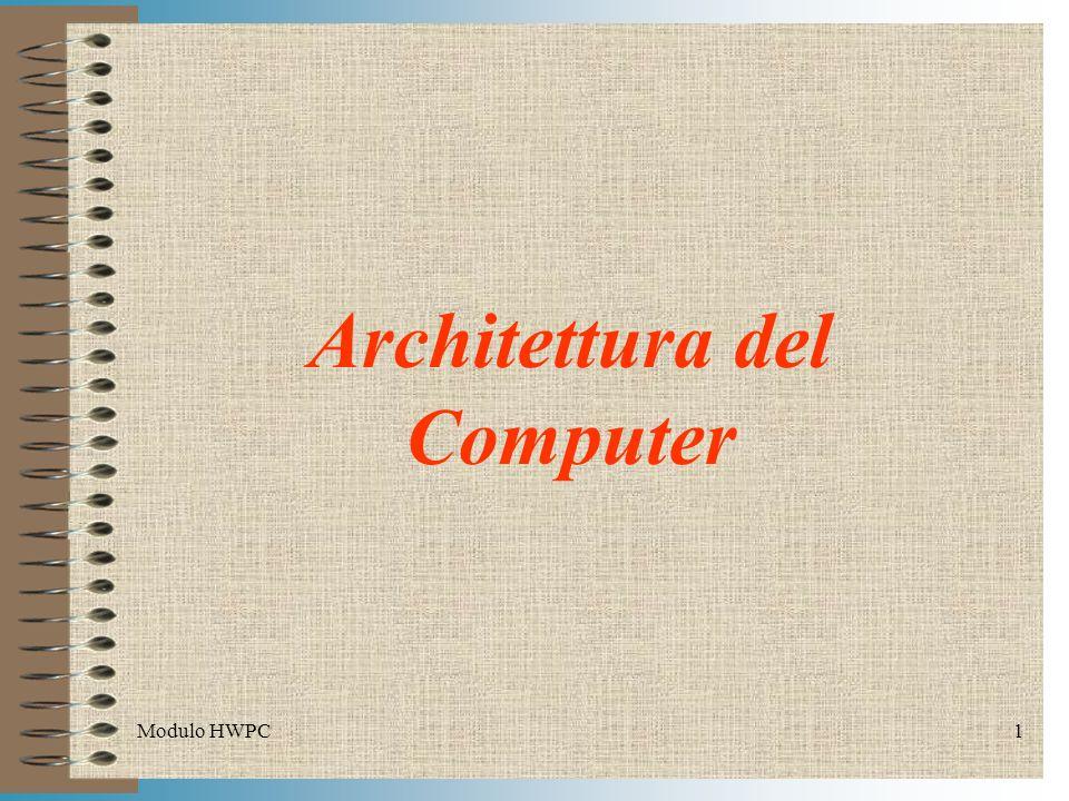 Modulo HWPC2 Indice Il modello di Von Neumann Descrizione dell Architettura da Studiare Circuiti di Temporizzazioni (Clock) Memorie RAM, ROM, Cache Unità centrale di processo (CPU) Direct Memory Access (DMA) Circuiti di Interrupt Chipset BIOS Bus di comunicazione Controllore di periferiche (Controller) Periferiche e Memorie di Massa