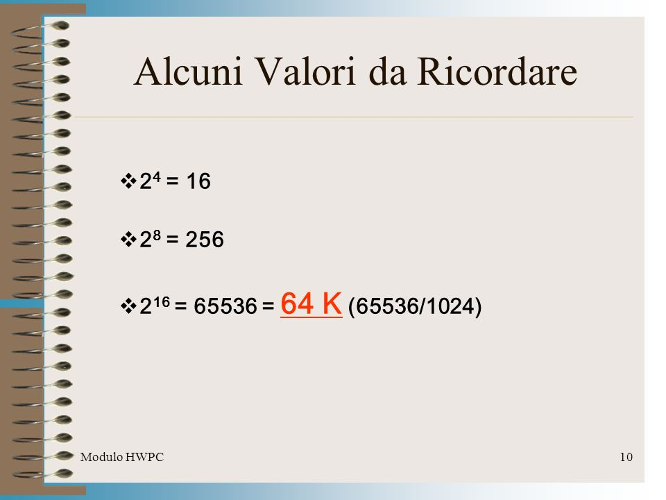 Modulo HWPC10 Alcuni Valori da Ricordare 2 4 = 16 2 8 = 256 2 16 = 65536 = 64 K (65536/1024)