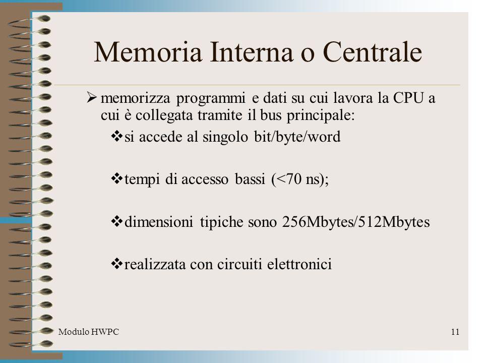 Modulo HWPC11 Memoria Interna o Centrale memorizza programmi e dati su cui lavora la CPU a cui è collegata tramite il bus principale: si accede al sin
