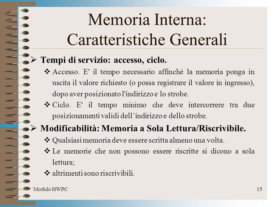 Modulo HWPC15 Tempi di servizio: accesso, ciclo. Accesso. E' il tempo necessario affinché la memoria ponga in uscita il valore richiesto (o possa regi