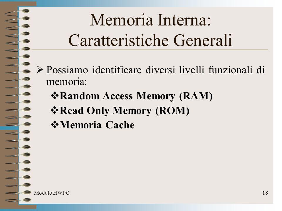 Modulo HWPC18 Possiamo identificare diversi livelli funzionali di memoria: Random Access Memory (RAM) Read Only Memory (ROM) Memoria Cache Memoria Int