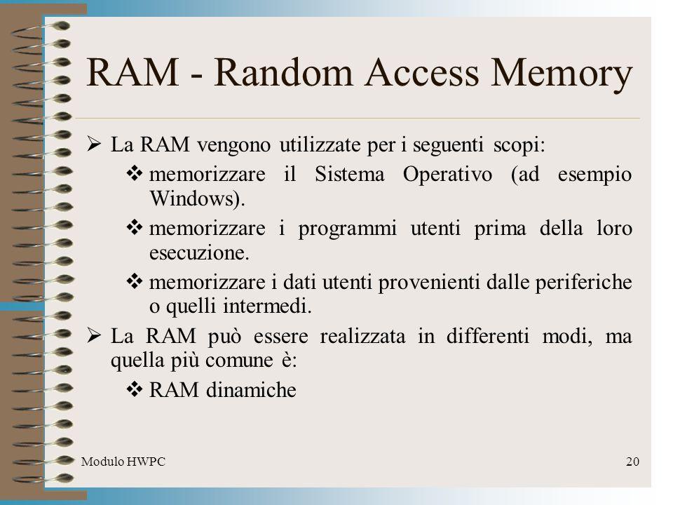 Modulo HWPC20 RAM - Random Access Memory La RAM vengono utilizzate per i seguenti scopi: memorizzare il Sistema Operativo (ad esempio Windows). memori