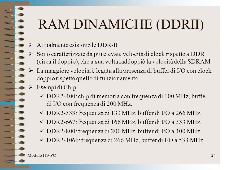 Modulo HWPC24 Attualmente esistono le DDR-II Sono caratterizzate da più elevate velocità di clock rispetto a DDR (circa il doppio), che a sua volta ra