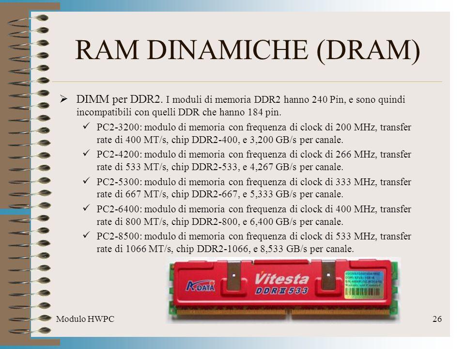 Modulo HWPC26 RAM DINAMICHE (DRAM) DIMM per DDR2. I moduli di memoria DDR2 hanno 240 Pin, e sono quindi incompatibili con quelli DDR che hanno 184 pin