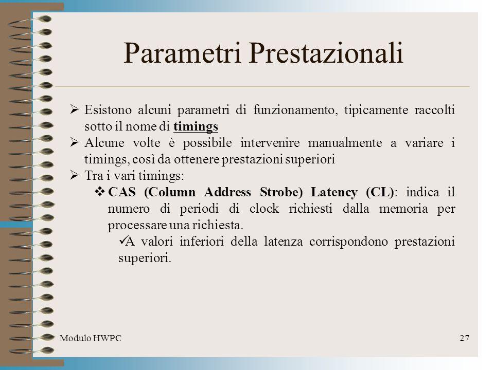 Modulo HWPC27 Parametri Prestazionali Esistono alcuni parametri di funzionamento, tipicamente raccolti sotto il nome di timings Alcune volte è possibi