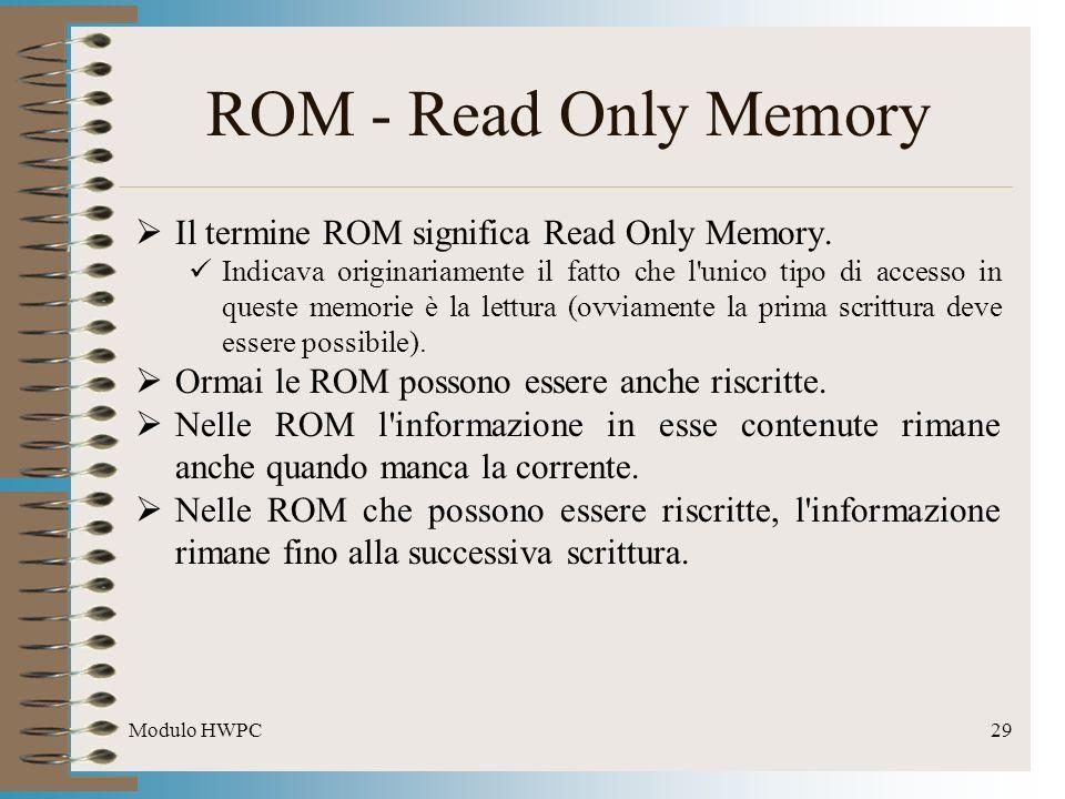 Modulo HWPC29 ROM - Read Only Memory Il termine ROM significa Read Only Memory. Indicava originariamente il fatto che l'unico tipo di accesso in quest