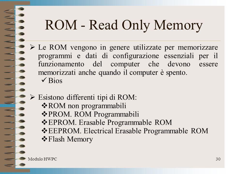Modulo HWPC30 ROM - Read Only Memory Le ROM vengono in genere utilizzate per memorizzare programmi e dati di configurazione essenziali per il funziona