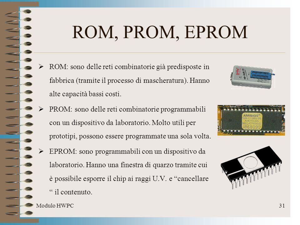 Modulo HWPC31 ROM, PROM, EPROM ROM: sono delle reti combinatorie già predisposte in fabbrica (tramite il processo di mascheratura). Hanno alte capacit