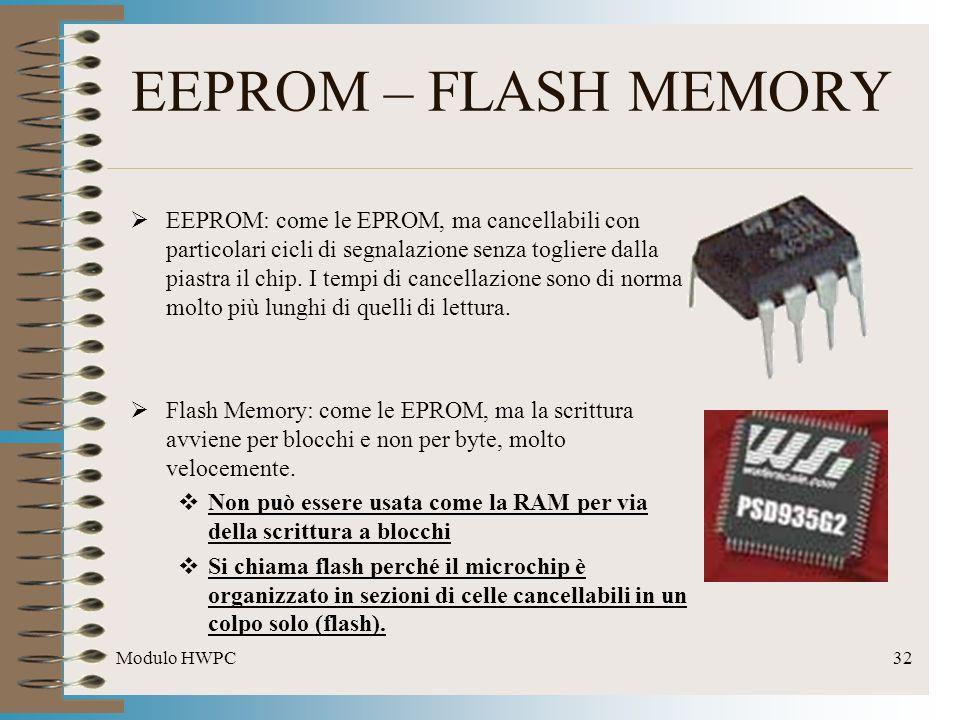 Modulo HWPC32 EEPROM – FLASH MEMORY EEPROM: come le EPROM, ma cancellabili con particolari cicli di segnalazione senza togliere dalla piastra il chip.
