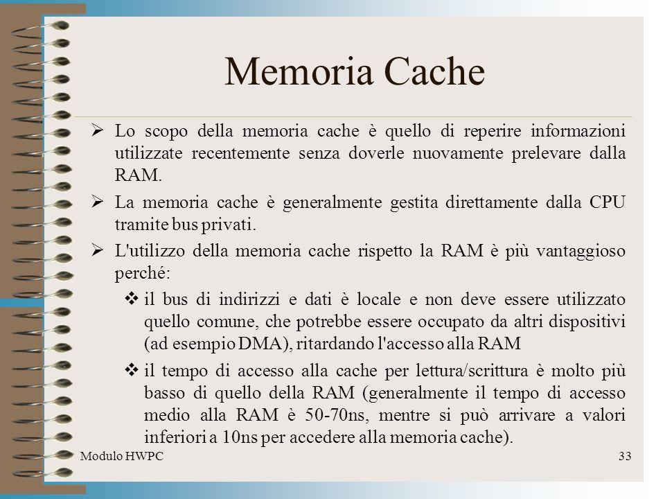 Modulo HWPC33 Memoria Cache Lo scopo della memoria cache è quello di reperire informazioni utilizzate recentemente senza doverle nuovamente prelevare