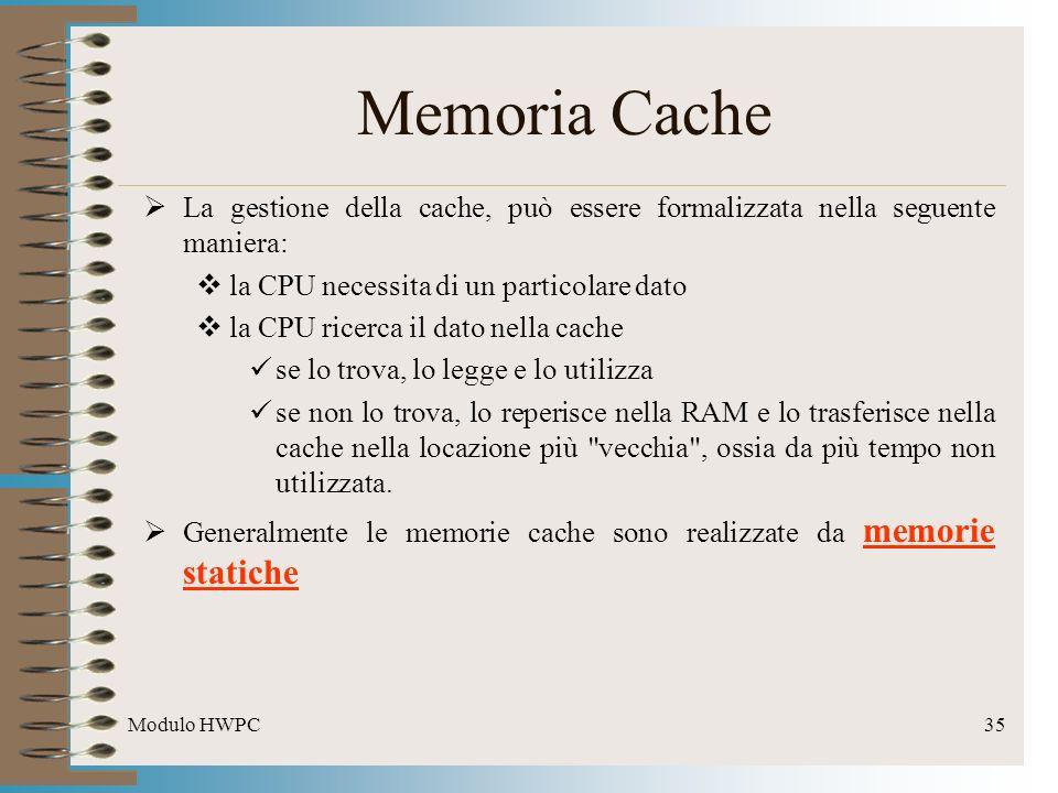 Modulo HWPC35 Memoria Cache La gestione della cache, può essere formalizzata nella seguente maniera: la CPU necessita di un particolare dato la CPU ri