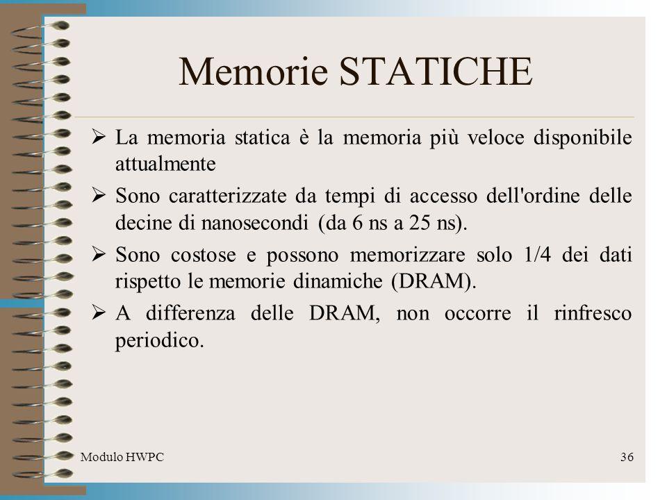 Modulo HWPC36 Memorie STATICHE La memoria statica è la memoria più veloce disponibile attualmente Sono caratterizzate da tempi di accesso dell'ordine