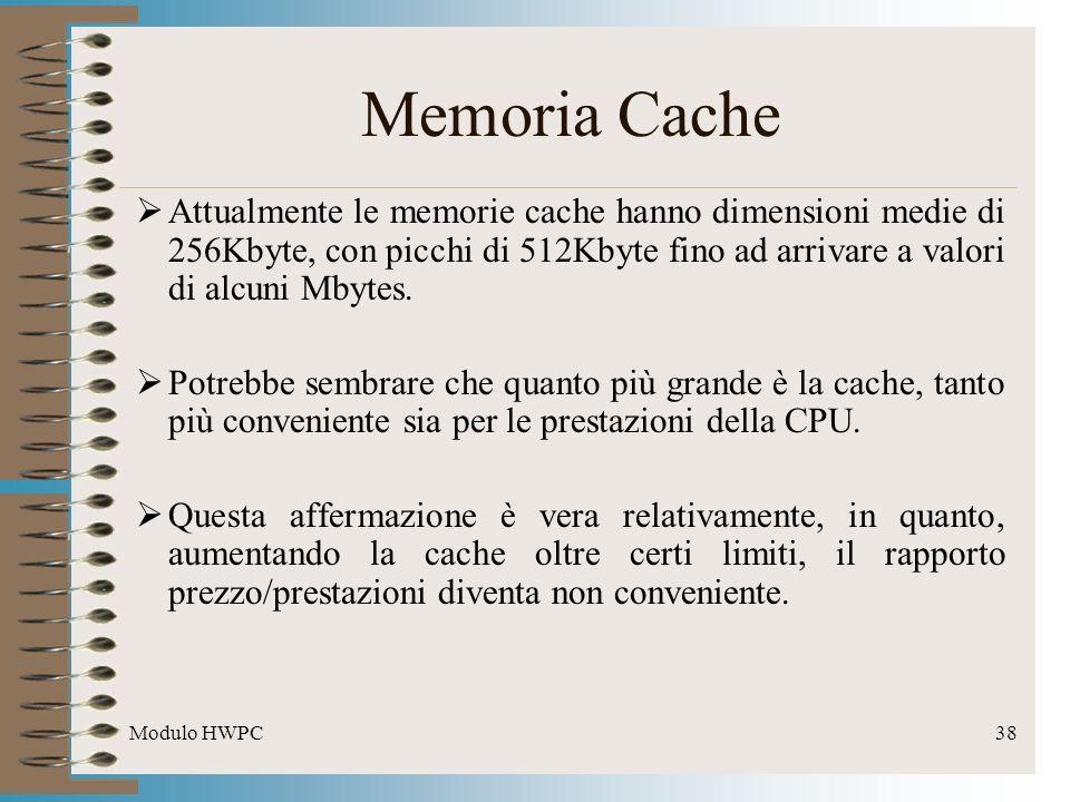 Modulo HWPC38 Attualmente le memorie cache hanno dimensioni medie di 256Kbyte, con picchi di 512Kbyte fino ad arrivare a valori di alcuni Mbytes. Potr
