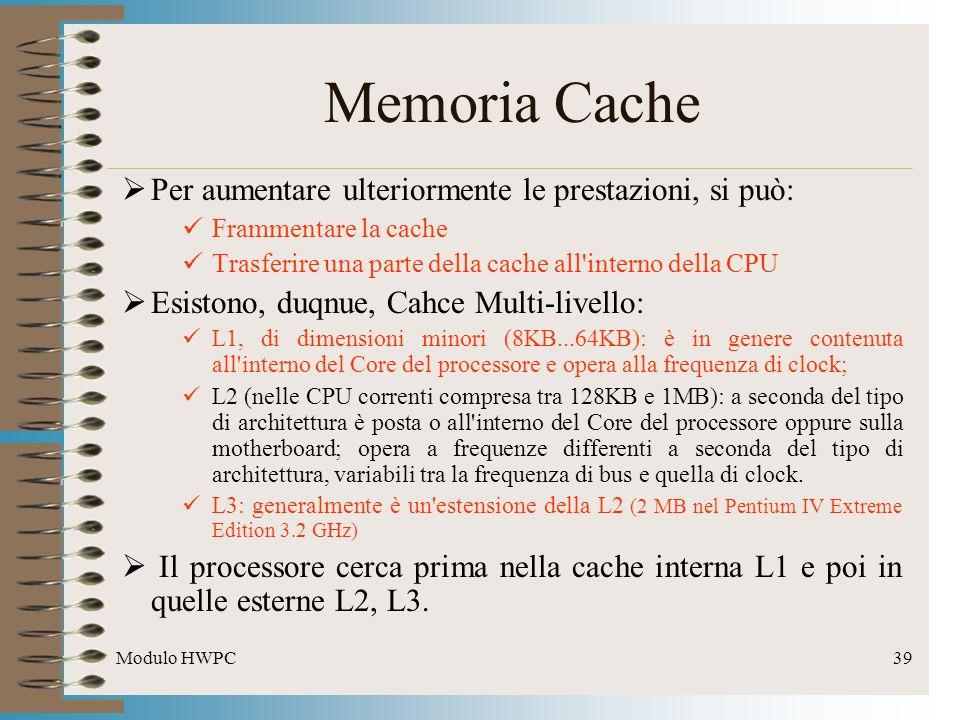 Modulo HWPC39 Per aumentare ulteriormente le prestazioni, si può: Frammentare la cache Trasferire una parte della cache all'interno della CPU Esistono