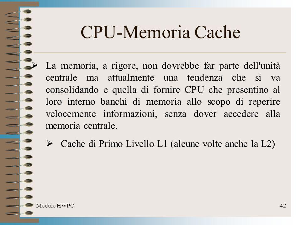 Modulo HWPC42 CPU-Memoria Cache La memoria, a rigore, non dovrebbe far parte dell'unità centrale ma attualmente una tendenza che si va consolidando e