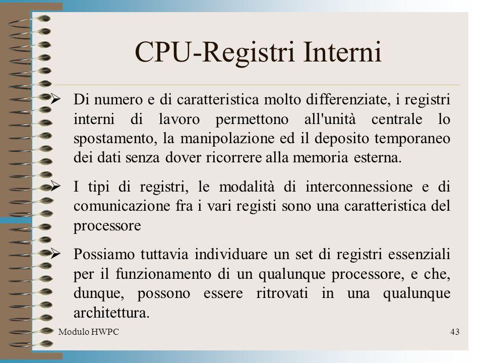 Modulo HWPC43 CPU-Registri Interni Di numero e di caratteristica molto differenziate, i registri interni di lavoro permettono all'unità centrale lo sp
