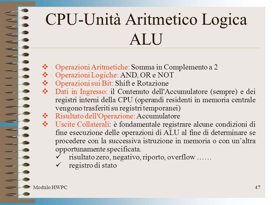 Modulo HWPC47 CPU-Unità Aritmetico Logica ALU Operazioni Aritmetiche: Somma in Complemento a 2 Operazioni Logiche: AND, OR e NOT Operazioni sui Bit: S