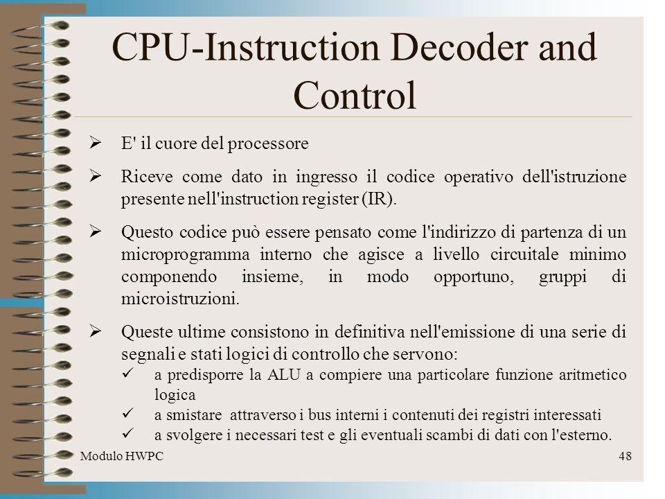 Modulo HWPC48 CPU-Instruction Decoder and Control E' il cuore del processore Riceve come dato in ingresso il codice operativo dell'istruzione presente