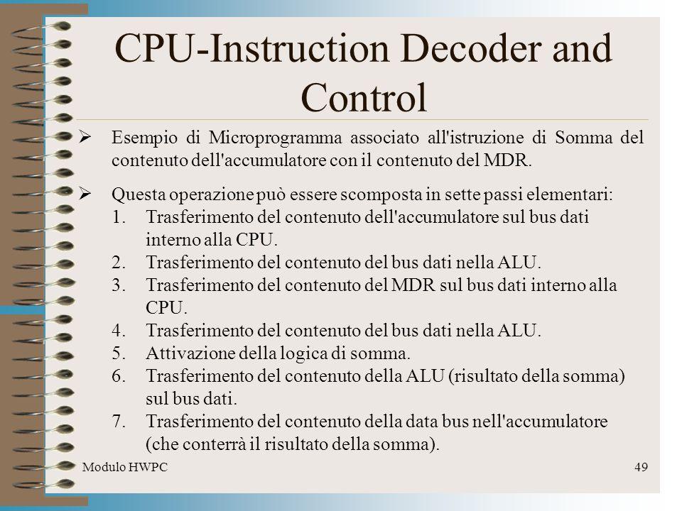 Modulo HWPC49 CPU-Instruction Decoder and Control Esempio di Microprogramma associato all'istruzione di Somma del contenuto dell'accumulatore con il c