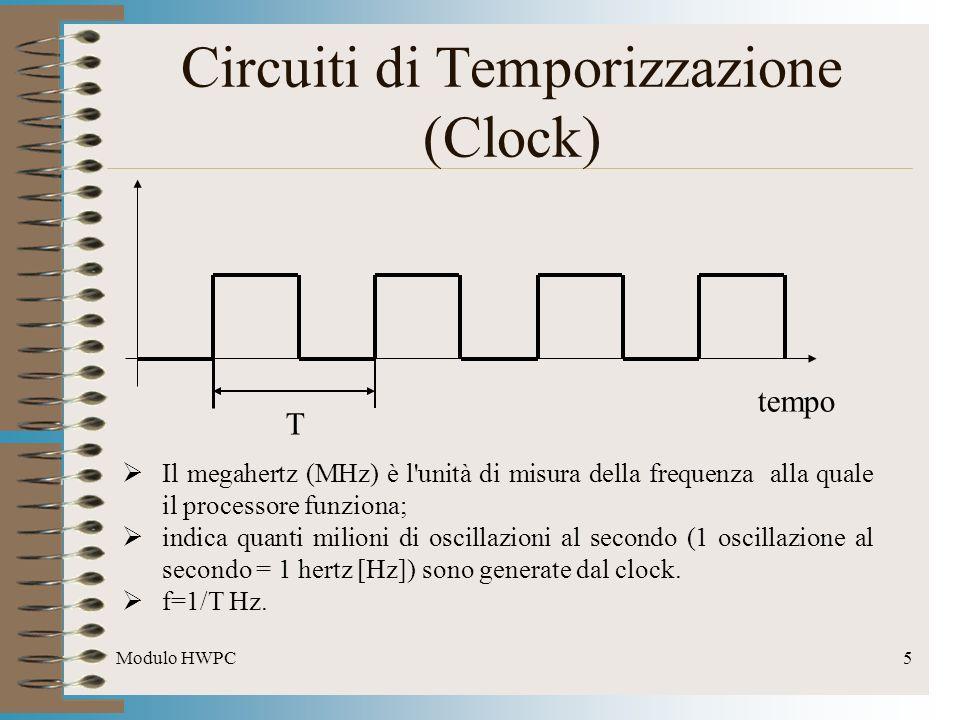 Modulo HWPC6 Circuiti di Temporizzazione (Clock) In generale il clock é prodotto da un apposito circuito integrato, la cui oscillazione é controllata da un cristallo di quarzo.