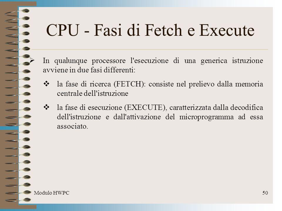 Modulo HWPC50 CPU - Fasi di Fetch e Execute In qualunque processore l'esecuzione di una generica istruzione avviene in due fasi differenti: la fase di
