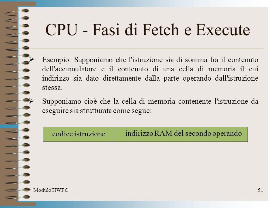 Modulo HWPC51 CPU - Fasi di Fetch e Execute Esempio: Supponiamo che l'istruzione sia di somma fra il contenuto dell'accumulatore e il contenuto di una