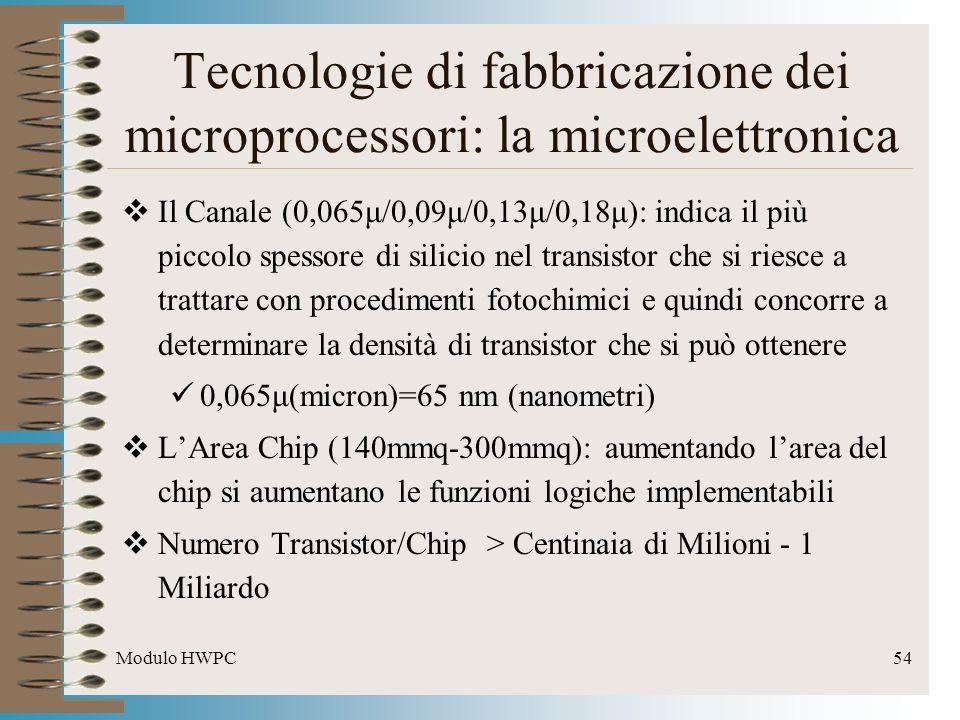 Modulo HWPC54 Tecnologie di fabbricazione dei microprocessori: la microelettronica Il Canale (0,065μ/0,09μ/0,13μ/0,18μ): indica il più piccolo spessor