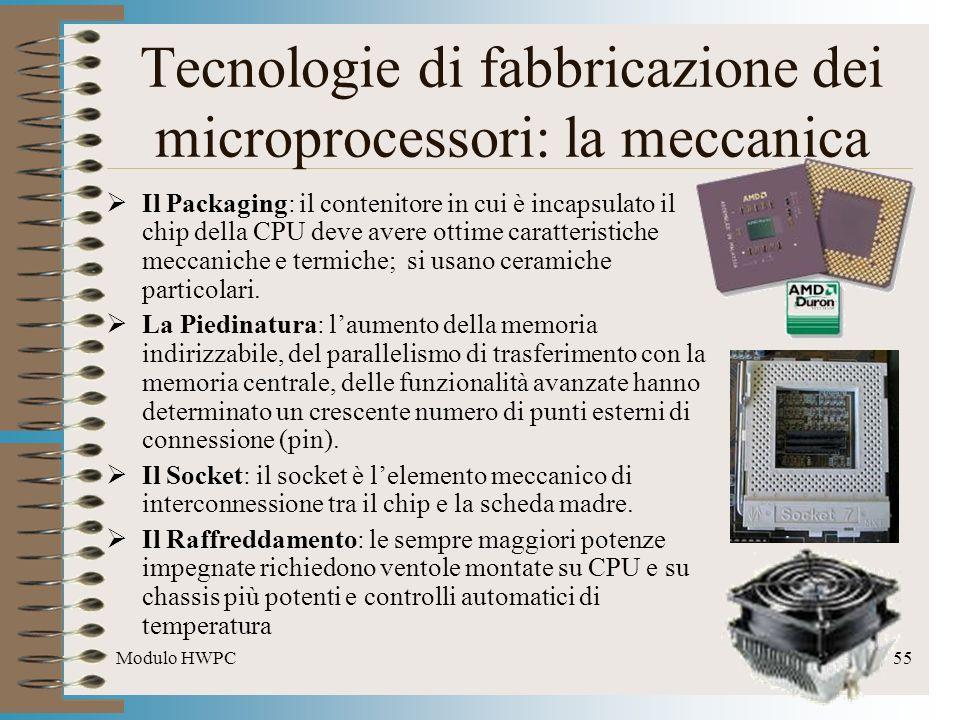 Modulo HWPC55 Tecnologie di fabbricazione dei microprocessori: la meccanica Il Packaging: il contenitore in cui è incapsulato il chip della CPU deve a