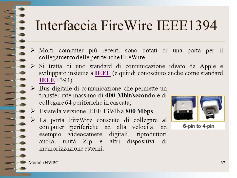 Modulo HWPC67 Interfaccia FireWire IEEE1394 Molti computer più recenti sono dotati di una porta per il collegamento delle periferiche FireWire. Si tra